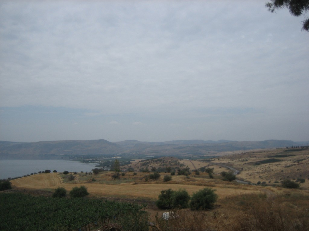 A view of the Sea of Galilee from the Mount of Beatitudes
