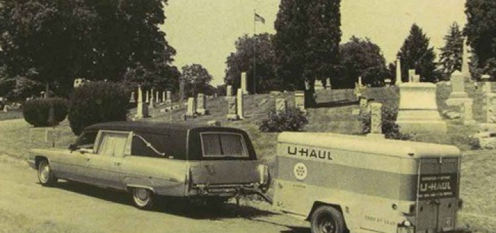 Hearse pulling a Uhaul Leadership What matters in this life